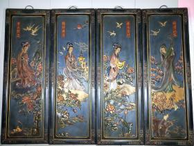 民间旧藏《四大美女》漆器屏风