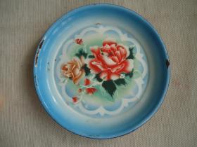 牡丹搪瓷盘子