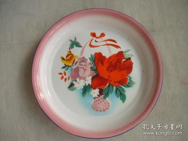 蝴蝶花瓶搪瓷盘子