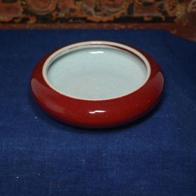 文房用品红釉开片笔洗,陶瓷笔洗,紫红色温润如玉,为瓷中之珍品,可遇不可求,难得一见