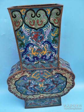 清 老物景泰蓝瓶,陈年原包浆老旧,寓意吉祥,高62公分,稀世珍品,个体较大较重 ,值得收藏 ,重15斤多