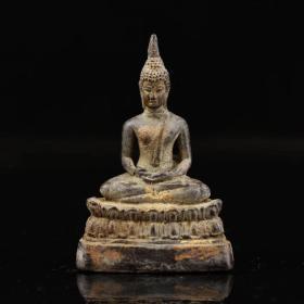 西藏寺院收老铜鎏金释迦摩尼佛祖一尊