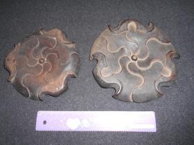 民国【红木铜炉座,2件】直径:15厘米。直径:16.7厘米