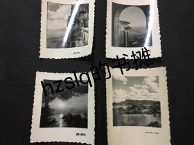 早期昆明西山风光建筑经典照片4张合售,花边纸较为少见