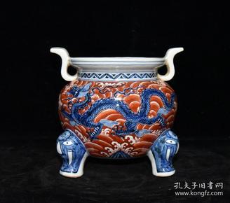 明代宣德青花矾红海水纹龙纹香炉