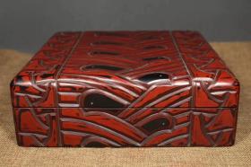 老漆器首饰盒子云纹漆器盒子 细节如图 品相如图