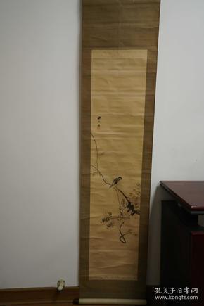 藤花 花鸟图 水墨画 老物件 立轴 卷轴 日本装裱技术 老木轴头