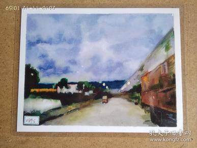 水粉画参展作品签名照片 《失焦的风景》 作者:卢轶