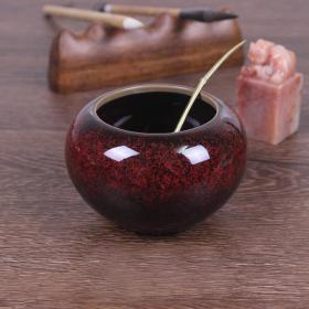 文房用品红色水滴 砚台磨墨调盘加水陶瓷,陶瓷笔洗,紫红色温润如玉,为瓷中之珍品,可遇不可求,难得一见