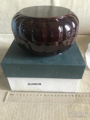 日本茶道具  素漆器   瓜型盖盒  原盒未使用品  带说明  光亮如新