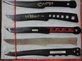 锦盒装  牛角裁纸刀五把 上刻甲骨文、金文 70、80年代