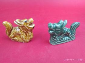 生肖辰龙 八十年代河南彩瓷绿釉黄釉龙摆件一对 龙王立于水上 笑傲江湖