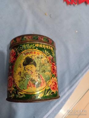 民国上海永和实业公司,月里嫦娥牌,扑粉铁广告盒