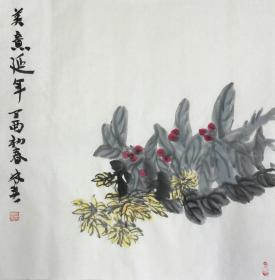 【王林春】【真迹】中美协会员、江苏省美协会员、南京美协会员理事、手绘四尺斗方花鸟3(68*68CM)。