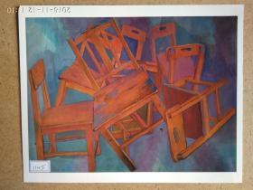 水粉画参展作品签名照片《欢乐时刻》作者:叶常红