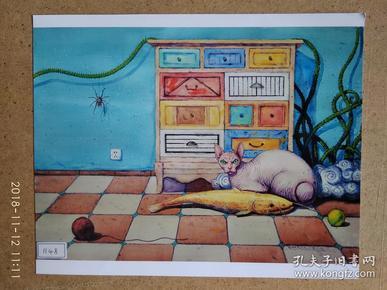 水粉画参展作品签名照片 《惬意》作者:肖福林