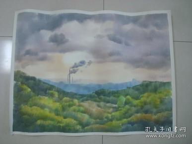 大幅无款水彩画6..........,约75*57厘米