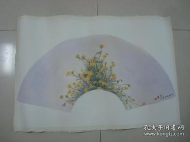 大幅扇面水彩画14.........,约75*57厘米