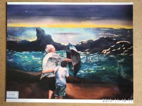 水粉画参展作品签名照片 《月夜》