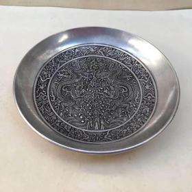 仿古铜器白铜双龙戏珠铜碗影视道具 工艺品古玩收藏古玩杂项