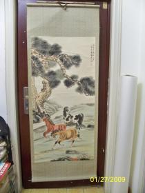 爱新觉罗·浦佐之子—— 爱新觉罗·毓山作品《爱马图》画心;长129厘米,宽63厘米。九十年代全绫手工精裱