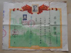 1955年【南京两浦铁路职工子弟中学,毕业证书】有毛像