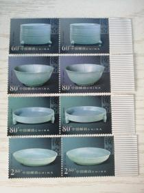 2002年特种邮票 2002-6 T 《中国陶瓷-汝窑瓷器》特种邮票 1套4枚二组【新票】单张横联