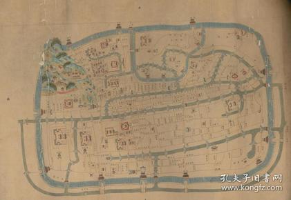 《杭州老地图》《杭州地图》清中期杭州城街道详图,街巷详细,此图相当棒,请看图片。原图现藏国外,原图高清复制。裱框后,风貌极好。