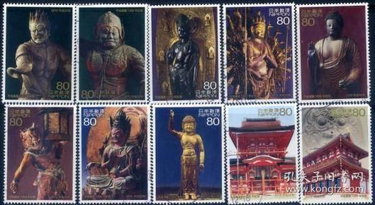 日邮·日本邮票信销·樱花目录编号C2074  2010年平城迁都1300年纪念 10全(大票幅漂亮,寺庙、佛像等)