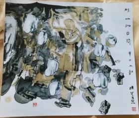 画家赵建军(秋日的音符)画照片尺寸22.5公分×19.5公分