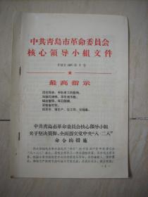 中共青岛市革命委员会核心领导小组文件