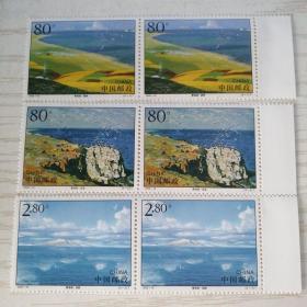 2002年特种邮票 2002-16 T《青海湖》特种邮票 1套3枚二组【新票】单张横联