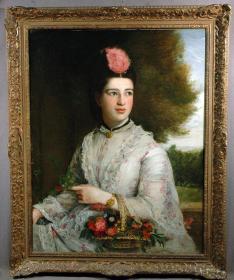 英国18世纪古董人物肖像油画 作者:(英)乔治.亨利.哈洛(1787-1819)在作者短暂的生命历程中,极富传奇色彩,他年轻、任性、却性格温和、长相英俊,他的老师是托马斯.劳伦斯(英国皇家学院院长),他被认为是当时最杰出的肖像画家之一,他的女性肖像画构思独特,优美动人,不落俗套。尽管他留下的作品很少,但至今他没有被人们遗忘。 尺寸:91.5×70.5CM 82255#