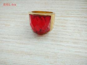 清代天然红宝石戒指000