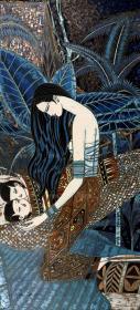 """著名画家、中国现代重彩画代表人 丁绍光 签名套色人物版画""""摇篮曲""""作品一幅  (尺寸:132*61cm,限定之245/275)HXTX106708"""