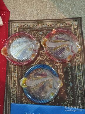 七八十年代老玻璃果盘琉璃金鱼果盘老物件 包老 标价是单个价