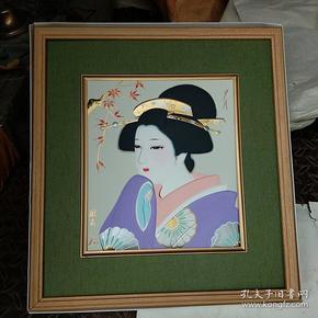 西冈久隆110回访中祝贺会纪念(献寿作画,日本仕女图夕月)石膏材质,立体感很强