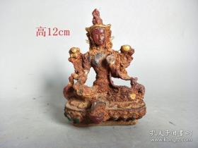 清代传世老琉璃添彩佛像