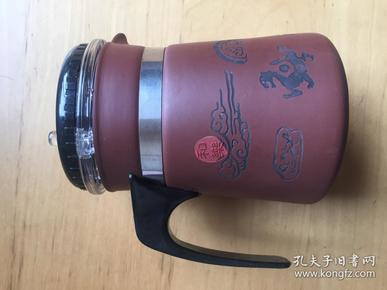 嘉艺轩 紫砂泡茶杯带盖带过滤泡茶杯子 紫砂
