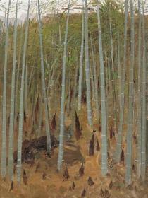 吴冠中    竹林春笋    1;1复制综合版画    限量2008幅