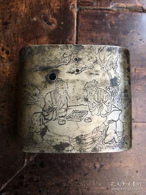 民国刻白铜《高士对奕图》水烟具盒底(保真包退)