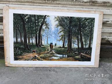 树林老油画
