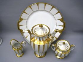 德国福腾宝鎏金瓷咖啡具四件套  尺寸:壶高19.5CM,直径9CM   69187#