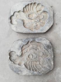 """陶器类印模;一对老的陶器印模子图案动物""""鸟""""28厘米*21厘米*4厘米"""