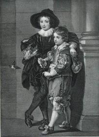 """1869年维也纳画廊钢板画系列 —《鲁本斯的儿子》佛兰德斯画家 """"鲁本斯(Peter Paul Rubens,1577--1640) """"作品26.5x21.5cm"""