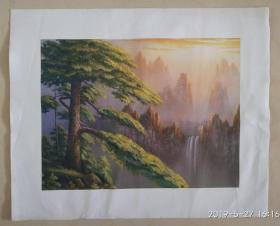印刷品油画,风景画 黄山云松