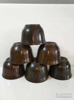 犀牛角碗六个通走,纯手工雕刻,雕刻精美,纹理清晰,品相一流,保存完整