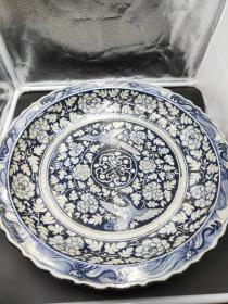 元青花盘子,45公分盘子,龙代表财运,龙是身份的象征