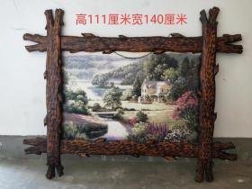 清末民国时期楠木油画一副,客厅摆放首选,尺寸如图