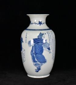 清青花楚汉人物故事冬瓜瓶 33x18